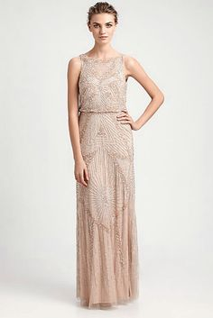 [Beaded Blouson Gown by Aidan Mattox]