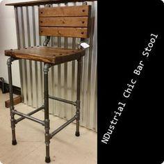 Black Steel Pipe Ndustrial Chic Bar Stool - $125. #industrialchic…
