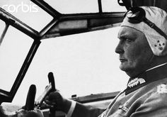 Hermann Goering in the cockpit of an airplane during his 1933 airplane tour of Germany.