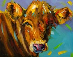 ARTOUTWEST+COW+CATTLE+ANIMAL+ART+OIL+PAINTING+DIANE+WHITEHEAD+PARTY+COWS,+painting+by+artist+Diane+Whitehead