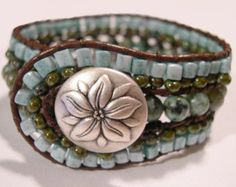 Beaded Leather Cuff Bracelet  891