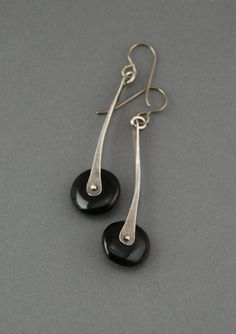 Pendulum Earrings black onyx by MaggieJs on Etsy