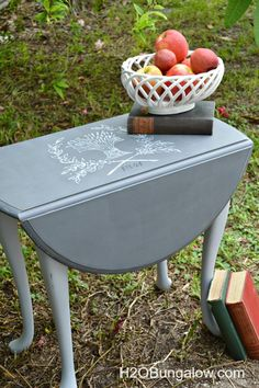 Grain sack graphic painted table using Americana Chalky Finish paints and Ultra…