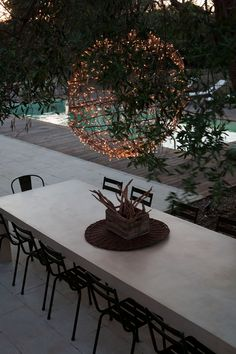 beautiful concrete table, light in trees