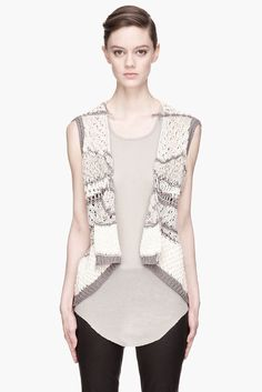 RICK OWENS $730 open knit Psyco SS13 Island open front cotton sweater top M NEW #RickOwens #Cardigan