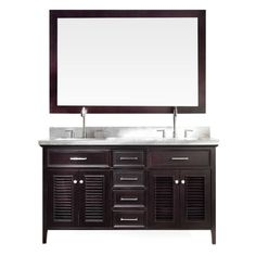 Ariel Kensington 61 in. Vanity in Espresso with Marble Vanity Top in Carrara White with White Basins and Mirror