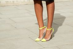 neon and nude ankle strap louboutin pumps      Go for bright pointy heel caps and the pavement is all yours!