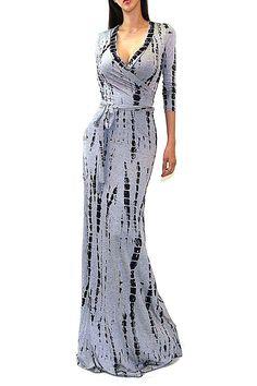 VIVICASTLE Women's Printed V-neck 3/4 Sleeve Wrap Waist Tie Long Maxi Dress (Large, F88, gray/navy) at Amazon Women's Clothing store: