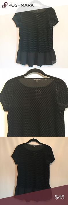 Adrianna Papell Grid Velvet Peplum Top. NWT • This top is so pretty!! • Black grid design velvet top with semi-sheer peplum • Perfect for work with a tank under or for a night out • Lightweight • Length: 24.5 inches • Size small. Adrianna Papell Tops Blouses