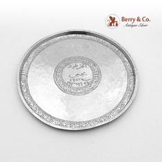 Persian sterling silver round hammered serving plate, decorated with unusual engraved pattern, c. Hammered Silver, Antique Silver, Sterling Silver, Serving Plates, Silver Rounds, Persian, Pattern, Persian People, Patterns