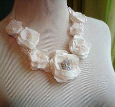Layer Cake Wedding Statement Necklacefabric flower by florabond, $115.00