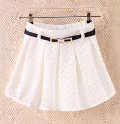White Floral Lace Belt Pleated Skirt GBP£15.18