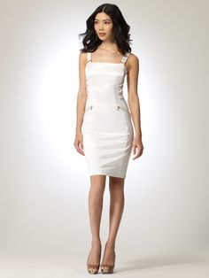 DRESSES | Summer White Lace Up Dress | Caché