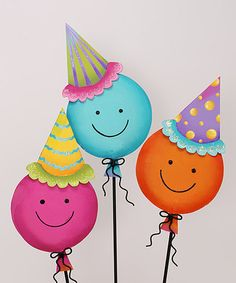 Take a look at this Party Hat Smiley Balloon Trio Small Stake by The Round Top Collection on #zulily today!