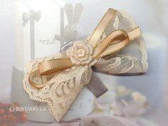 Lace Ribbon Hair Bow Hair Clip Cream.Small.Bridesmaid. by Shoimade