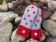 recycled sweater mittens upcycled sweater mittens ladies sweater gloves reclaimed sweater red and gray stars repurposed clothes vegan by KatesHandiwork