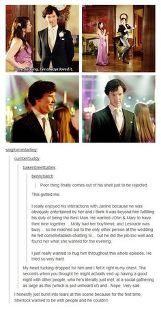 Sherlock at the wedding. My heart!