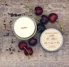 Wood Wick Candles, Mini Candles, Glass Candle, Soy Candles, Scented Candles, Glass Jars, Candle Jars, Sweet Cherries, Cordial