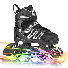 4f3b0331d25 Woolitime Sports Adjustable Inline Skates for Kids with 8 Illuminating  Wheels, Safe and Durable Roller Skates, Fashionable Skates for Girls and  Boys, ...
