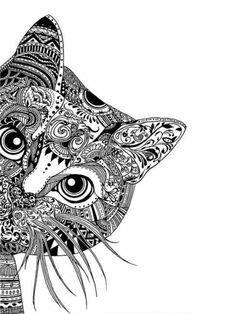 Mandala design Vorlagen katze idee
