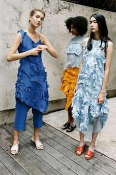 XU ZHI SS16 photo: Theresa Marxhttp://xuzhi.co.uk. Like the blue dress on the left, and the textured thing in general.