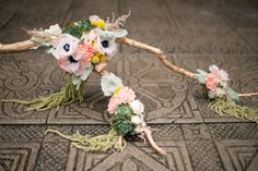 Most creative #wedding bouquet ever made from a branch and paper flowers | LH Photography | see more on http://burnettsboards.com/2014/02/glamorous-creative-love-sweet-shoot/
