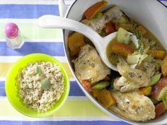 Rezept: Hähnchen – geschmort mit Kürbis