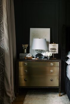 Black Painted Walls, Euro Pillows, Warm Home Decor, Master Bedroom Makeover, Bedroom Accessories, Dresser As Nightstand, Soft Furnishings, Design Bedroom, Bedroom Ideas