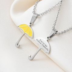 "Yellow Umbrella Necklace ""You're my Yellow Umbrella"" True Love Necklace Geekery Geek Jewelry Mother Gift"