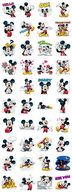 This sticker set stars everyone& favorite mouse, Mickey! Send these stickers today and charm your friends with his warm smile and priceless expressions.