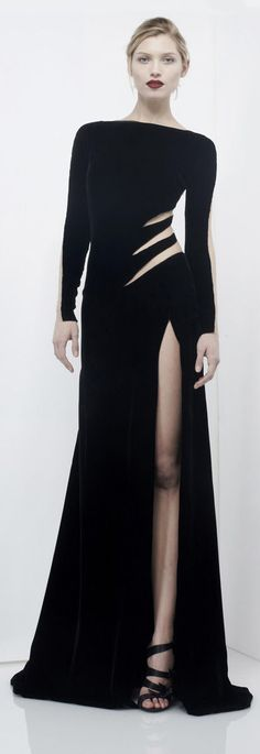 Zuhair Murad Evening Dresses A-line High Collar Long Sleeves Satin Black Slit Long Prom Dresses Gown Zuhair Murad, Fashion Blogger Style, Style Haute Couture, Couture Fashion, Women's Dresses, Fashion Dresses, Style Noir, Glamour, Mode Inspiration