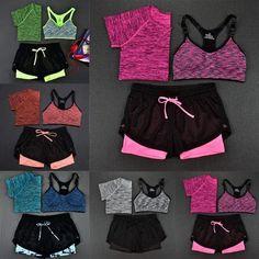 Women's 3 Piece Set, Top + Sports Bra + Shorts Leggings #yogatracksuits