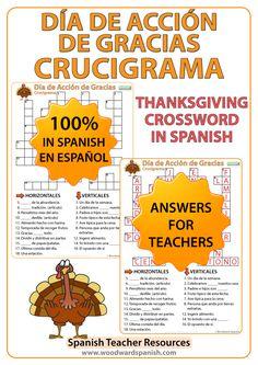 Crossword with Vocabulary about Thanksgiving Day in Spanish. Crucigrama con vocabulario acerca del Día de Acción de Gracias.