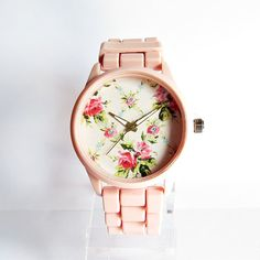 Hey, I found this really awesome Etsy listing at https://www.etsy.com/listing/184070586/pretty-in-pink-floral-watch-women