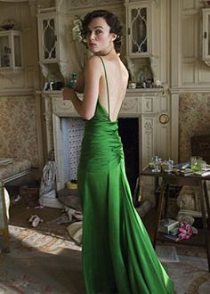she may have a strange mouth, but she's an icon and I love her. Three best things about Atonement: 1. The script 2. The cinematography 3. This dress *swoon*