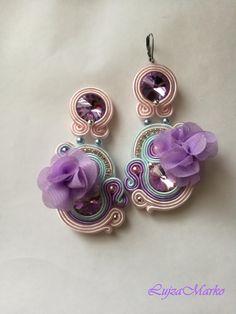 Soutache purple, pink, blue with rose elegant earrings