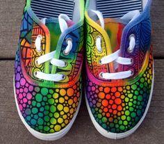 Zentangle sneakers, shoes, sneakers, zentangle art, original art, OOAK, custom sneakers, handpainted shoes. $34.95, via Etsy.