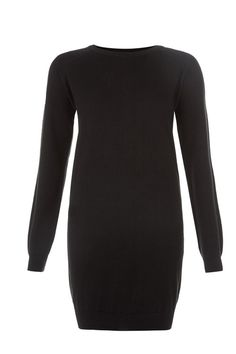 Black knitted sweater dress in 100% organic Fairtrade certified cotton. Above knee length with long sleeves. Also available in winter white. Length 83cm.