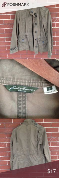 Eddie Bauer green utility jacket. Utility jacket. Has a few tiny faded spots as shown in last photo. Has an inside tie in the waist. Eddie Bauer Jackets & Coats Utility Jackets
