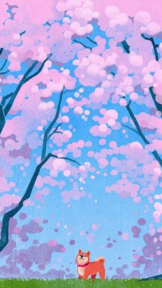 Cute Siba Dog Animal Spring Illustration Art #iPhone #6 #wallpaper