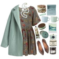 A fashion look from February 2015 featuring floral printed dress, green coat and pointy toe shoes. Browse and shop related looks.
