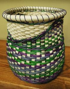 Nantucket Style Basket with Colorful Tapestry Weave, Hand Woven ...