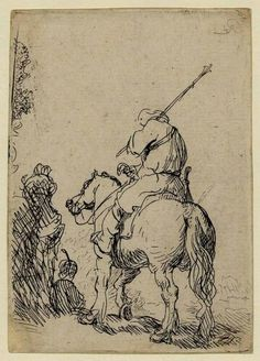 Rembrandt Harmensz van Rijn Turbaned soldier on horseback Etching, on laid, with a blue 'FP' Rembrandt Etchings, Rembrandt Drawings, Rembrandt Art, Rembrandt Portrait, Rembrandt Paintings, Art Blanc, Art Postal, Harvard Art Museum, Baroque Art