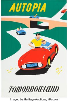 "Animation Art:Poster, Disneyland Park Entrance Poster ""Autopia"" Tomorrowland (WaltDisney, 1955)...."