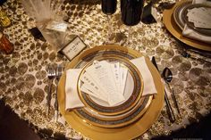 At the Palm Event Center our Cleo Gold linens gave this table a shiny finish- this is an overlay! You can play with colors for the underlay on this~   Photos by Rhee Bevere photography