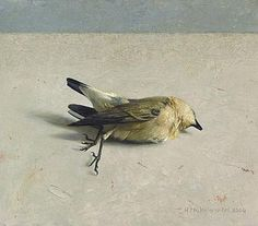 Helmantel .Tapuit. 21.5x24.5cm. 2004.This could look really good with pastels. This could be the first link between my artists. It is a very calmed painting and sad at the same time, because the bird looks delicate and silent and still, but the whole reason is because it is dead. I think that Helmantel deliberately chose to leave him alone in that table because maybe he was feeling like that as well, or he wanted to represent 'solitude' or even a feeling of melancholy.
