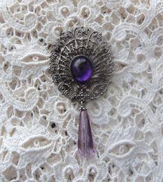 Steampunk JEWELRY   ... Brooch, Steampunk Jewelry, Vintage Filigree Brooch, Goth Jewelry