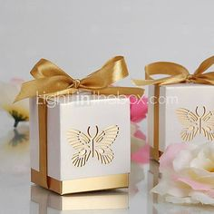 Gold Laser-cut Butterfly Favor Box(Set of 12) - USD $ 3.99