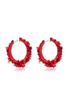 Red Hoop Earrings by RANJANA KHAN Now Available on Moda Operandi