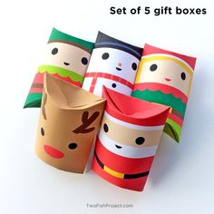 Set of 5 DIY Printable Pillow Boxes: Santa, Elf Boy, Elf Girl, Reindeer and Snowman. Perfect for Christmas gifts / parties. Great for stocking stuffers and treats. Christmas Party Favors, Christmas Paper Crafts, Christmas Gifts For Girls, Birthday Gifts For Kids, Christmas Gift Box, Christmas Pillow, Simple Christmas, Handmade Christmas, Christmas Ideas